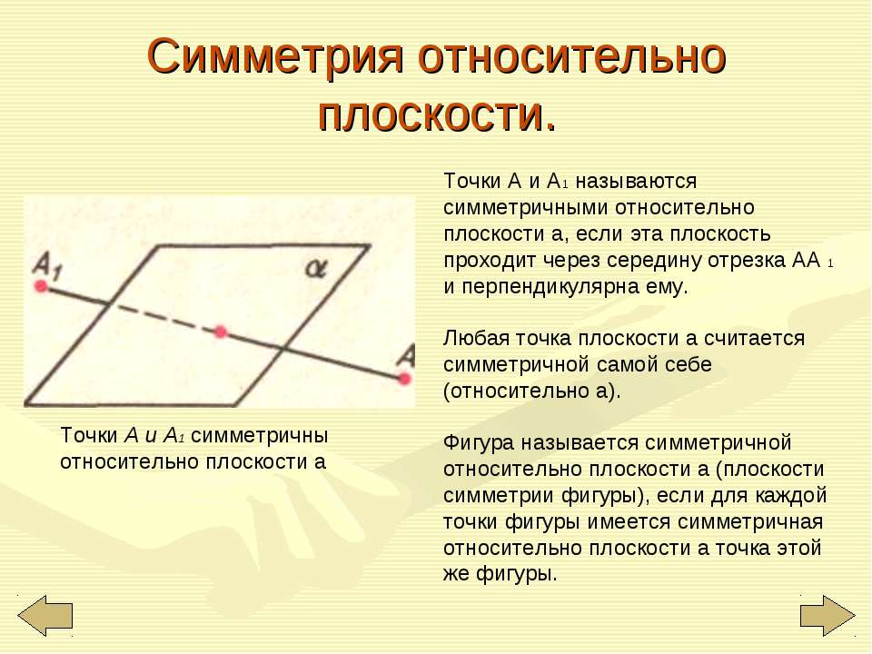 Симметрия относительно плоскости. Точки А и A1 симметричны относительно плоск...
