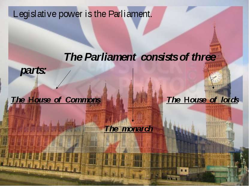 Legislative power is the Parliament. The Parliament consists of three parts: ...