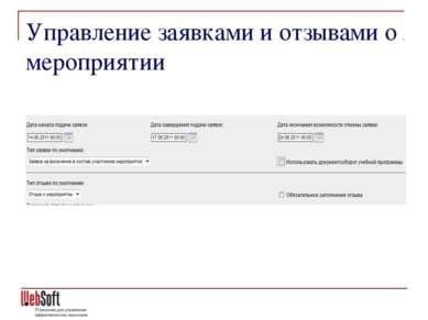 Управление заявками и отзывами о мероприятии