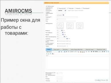 Пример окна для работы с товарами: Слайд * из 56