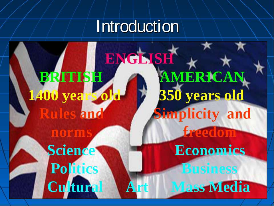 Introduction ENGLISH BRITISH AMERICAN 1400 years old 350 years old Rules and ...