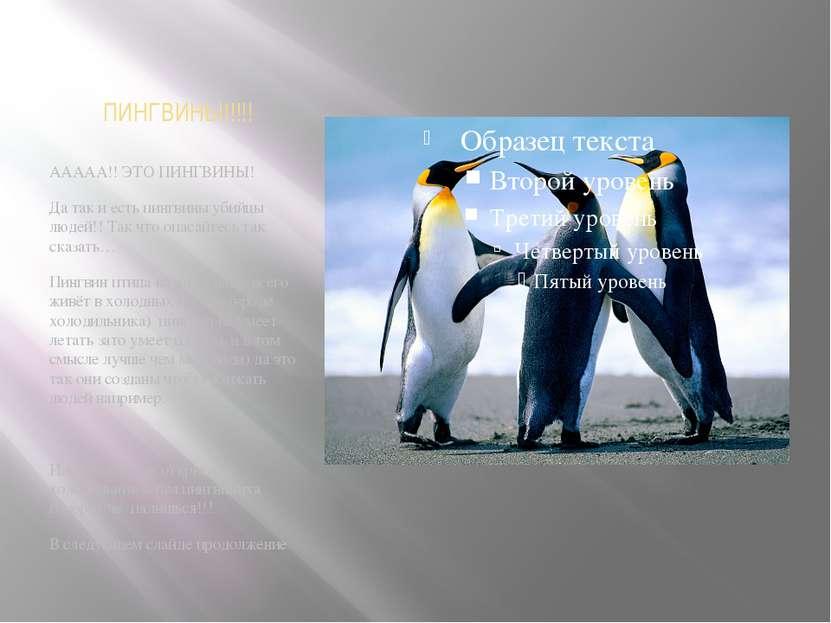 ПИНГВИНЫ!!!!! ААААА!! ЭТО ПИНГВИНЫ! Да так и есть пингвины убийцы людей!! Так...