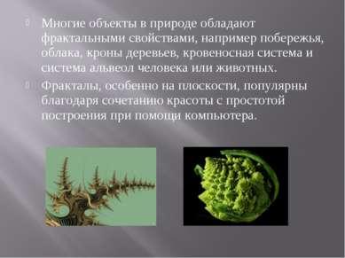 Многие объекты в природе обладают фрактальными свойствами, например побережья...