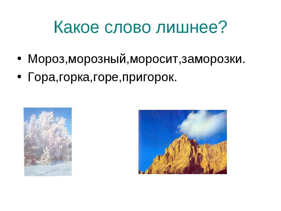 Какое слово лишнее? Мороз,морозный,моросит,заморозки. Гора,горка,горе,пригорок.