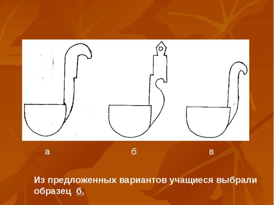 а б в Из предложенных вариантов учащиеся выбрали образец б.