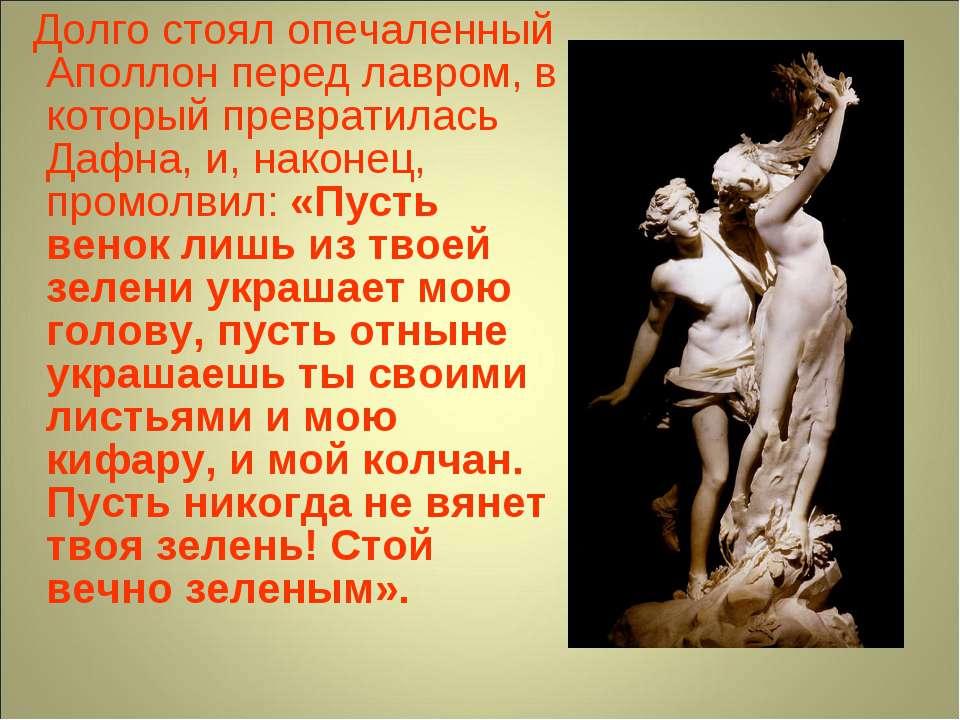 Долго стоял опечаленный Аполлон перед лавром, в который превратилась Дафна, и...