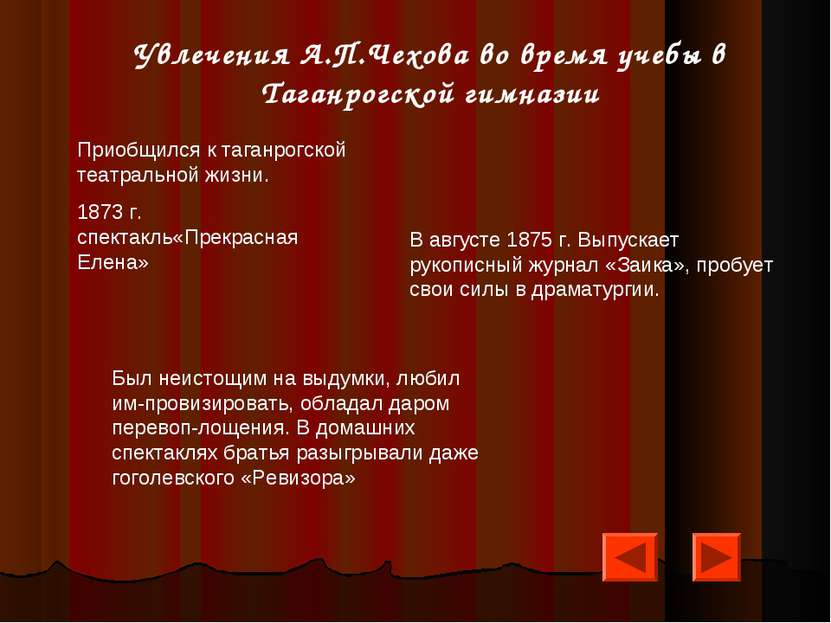 Увлечения А.П.Чехова во время учебы в Таганрогской гимназии Приобщился к тага...