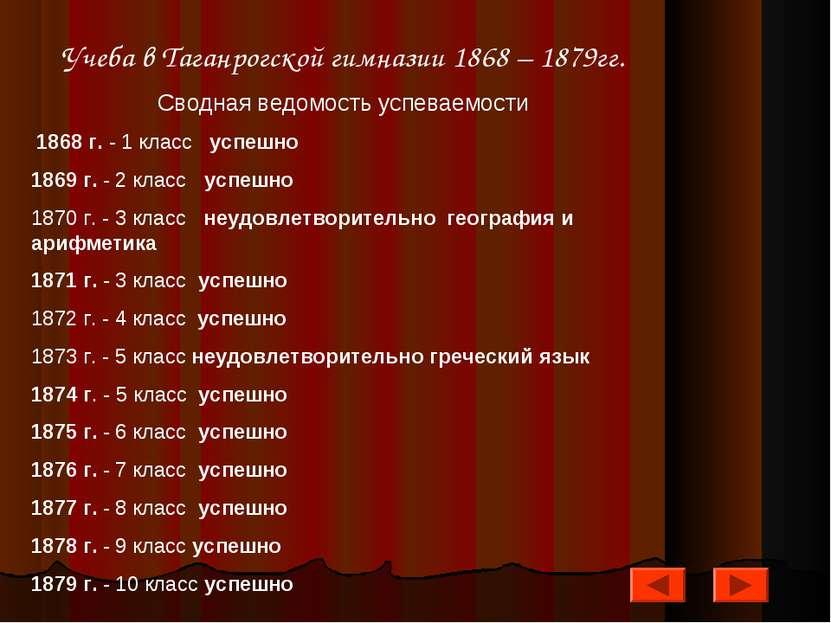 Учеба в Таганрогской гимназии 1868 – 1879гг. Сводная ведомость успеваемости 1...