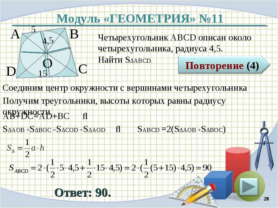 Модуль «ГЕОМЕТРИЯ» №11 Ответ: 90. Четырехугольник АВСD описан около четырехуг...