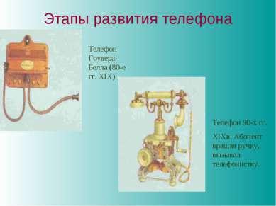Этапы развития телефона Телефон Гоувера-Белла (80-е гг. XIX) Телефон 90-х гг....