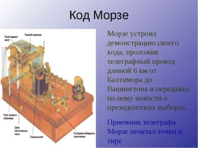Код Морзе Приемник телеграфа Морзе печатал точки и тире Морзе устроил демонст...