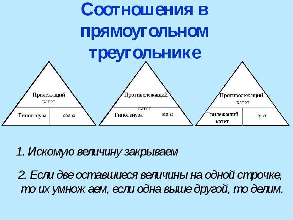 Соотношения в прямоугольном треугольнике Прилежащий катет Гипотенуза Гипотену...