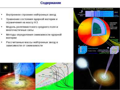 * Содержание Внутреннее строение нейтронных звезд Уравнение состояния ядерной...