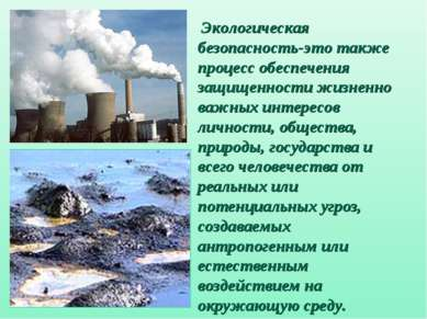 Экологическая безопасность-это также процесс обеспечения защищенности жизненн...