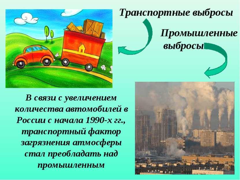 Промышленные выбросы Транспортные выбросы В связи с увеличением количества ав...