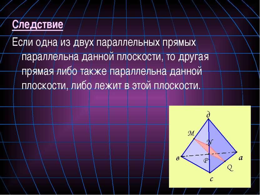 Следствие Если одна из двух параллельных прямых параллельна данной плоскости,...