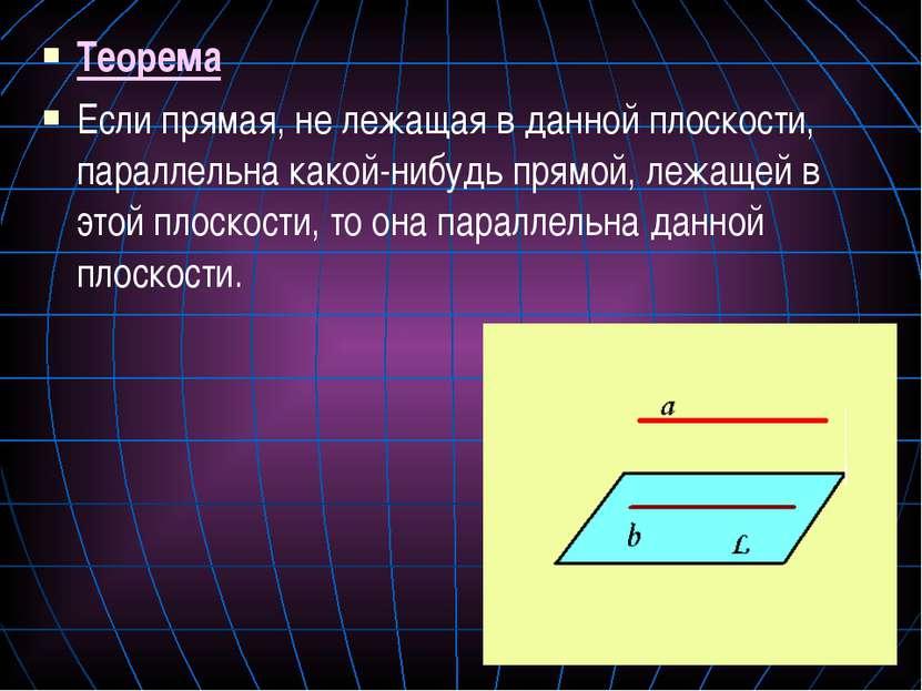 Теорема Если прямая, не лежащая в данной плоскости, параллельна какой-нибудь ...