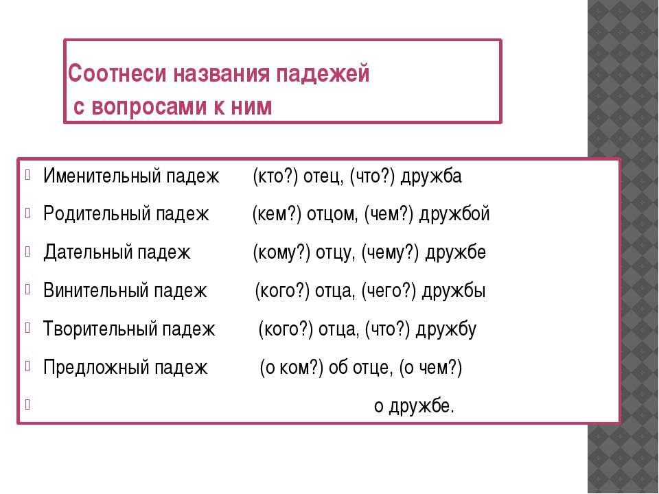 Соотнеси названия падежей с вопросами к ним Именительный падеж (кто?) отец, (...