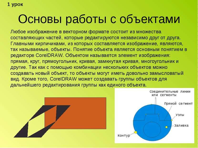 Основы работы с объектами Любое изображение в векторном формате состоит из мн...