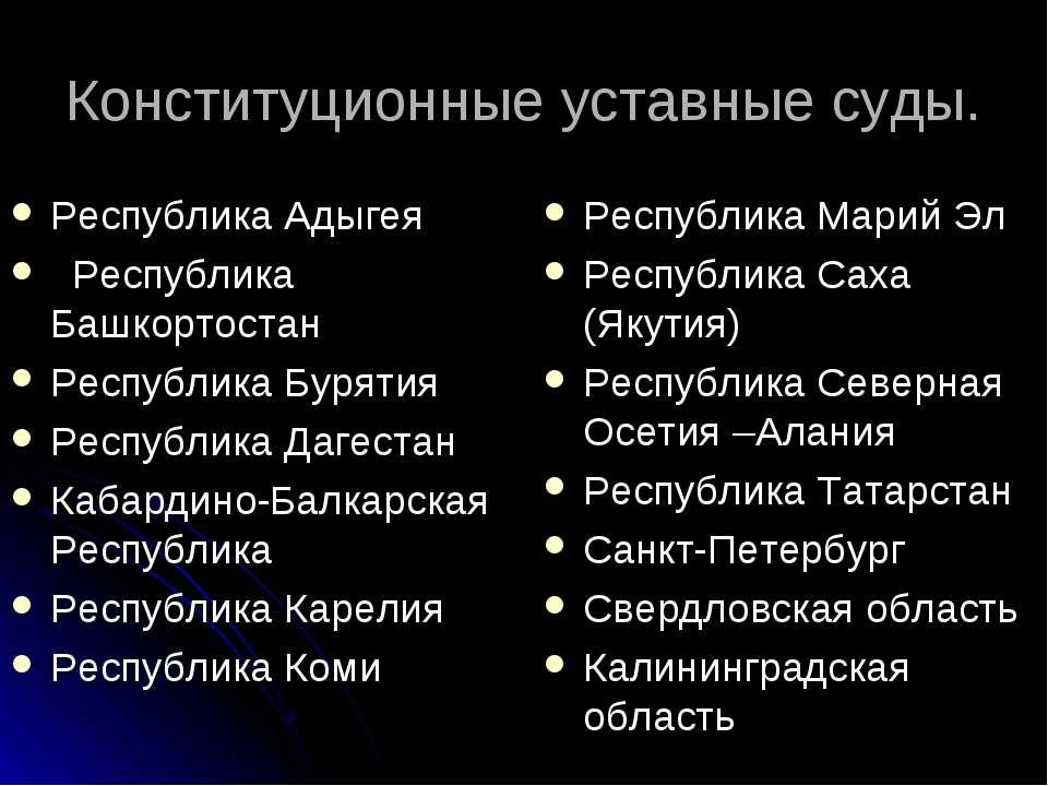 Конституционные уставные суды. Республика Адыгея  Республика Башкортостан ...
