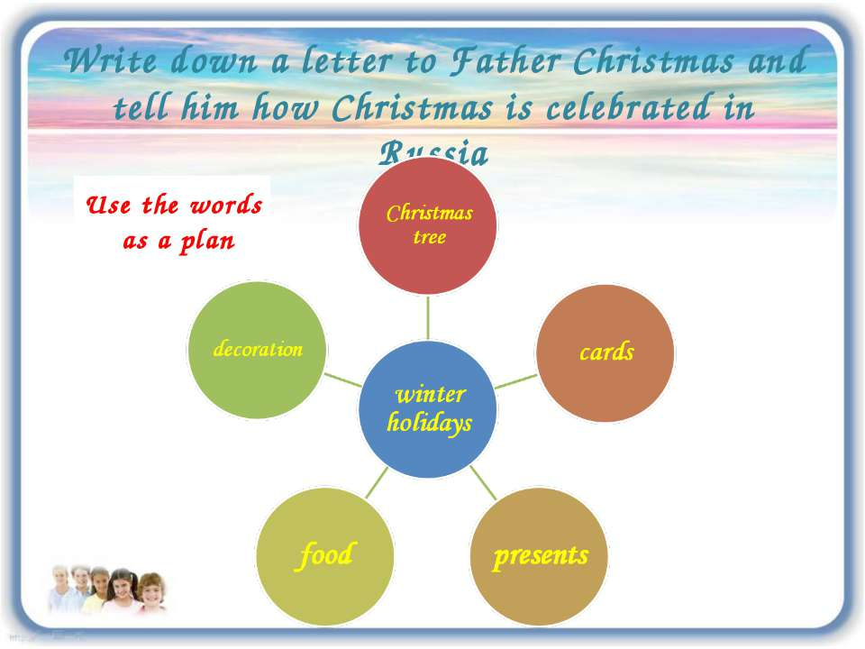 Write down a letter to Father Christmas and tell him how Christmas is celebra...