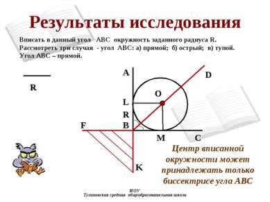 Результаты исследования МОУ Тулиновская средняя общеобразовательная школа B A...