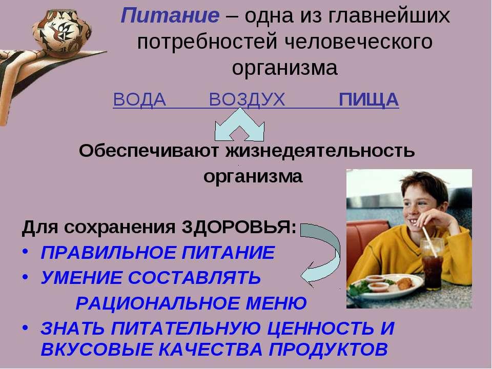 Питание – одна из главнейших потребностей человеческого организма ВОДА ВОЗДУХ...