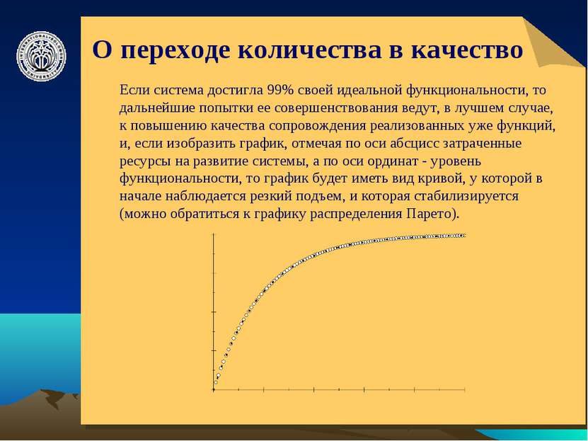 О переходе количества в качество Если система достигла 99% своей идеальной фу...
