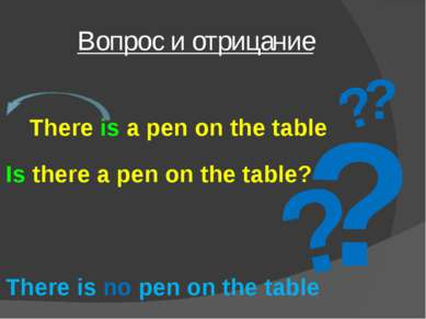 Вопрос и отрицание ? ? ? ? There is a pen on the table Is there a pen on the ...