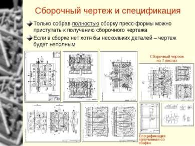 Сборочный чертеж и спецификация Только собрав полностью сборку пресс-формы мо...