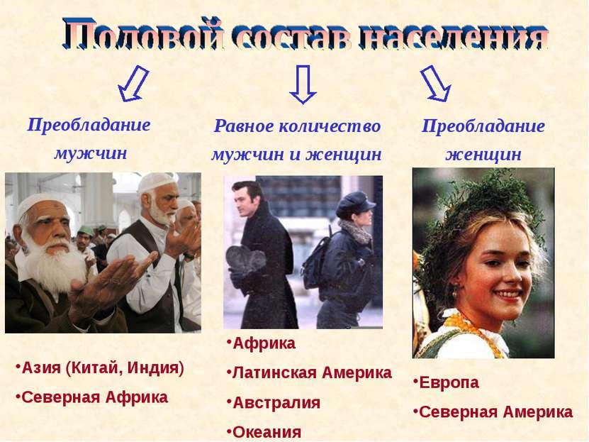 Преобладание мужчин Равное количество мужчин и женщин Преобладание женщин Ази...