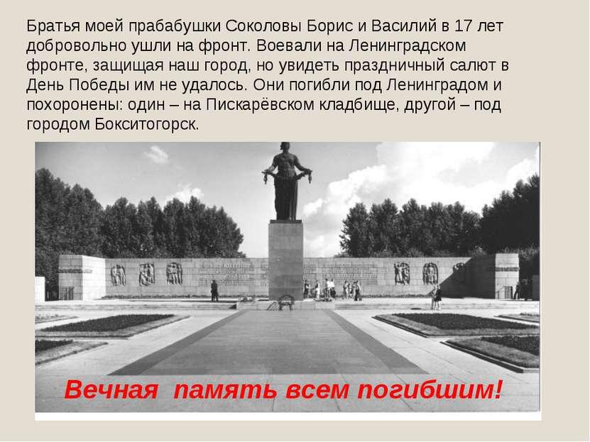 Братья моей прабабушки Соколовы Борис и Василий в 17 лет добровольно ушли на ...