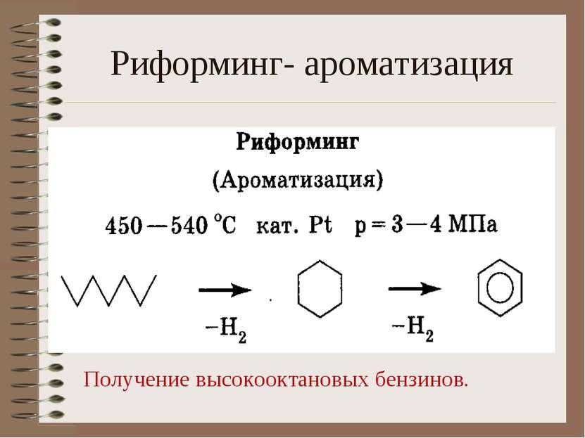 Риформинг- ароматизация Получение высокооктановых бензинов.
