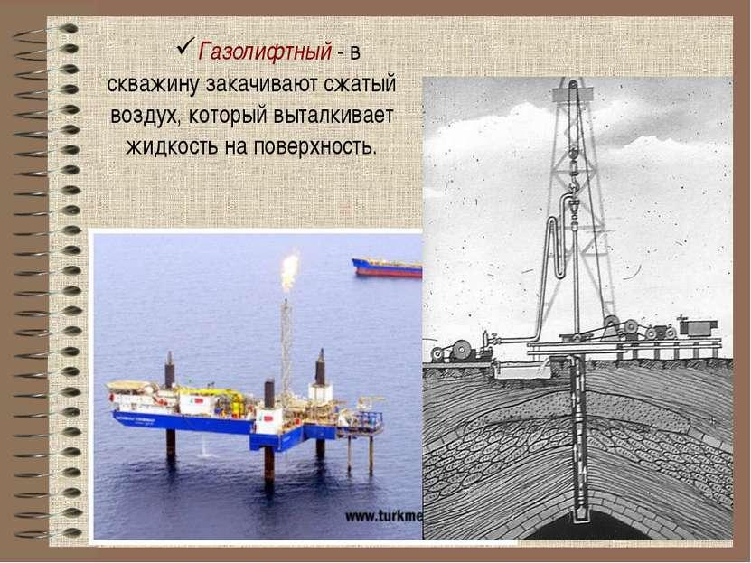 Газолифтный - в скважину закачивают сжатый воздух, который выталкивает жидкос...