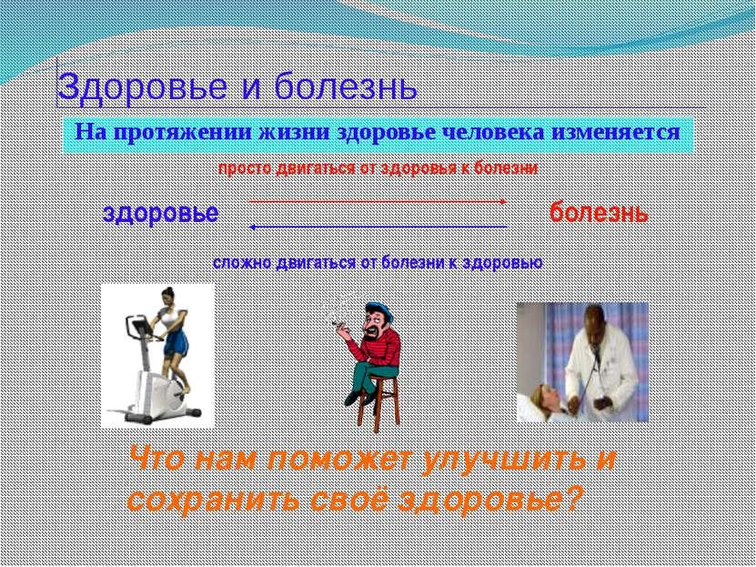 Здоровье и болезнь На протяжении жизни здоровье человека изменяется