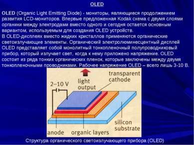 OLED OLED (Organic Light Emitting Diode) - мониторы, являющиеся продолжением ...