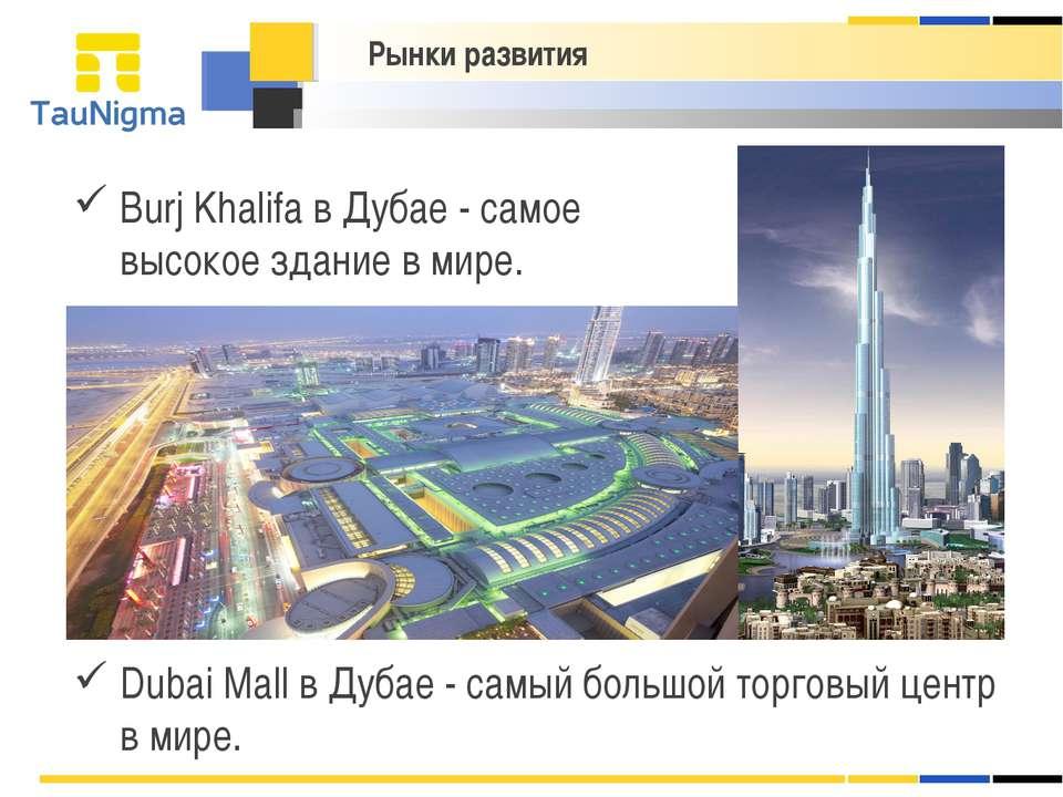Burj Khalifa в Дубае - cамое высокое здание в мире. Рынки развития Dubai Mall...