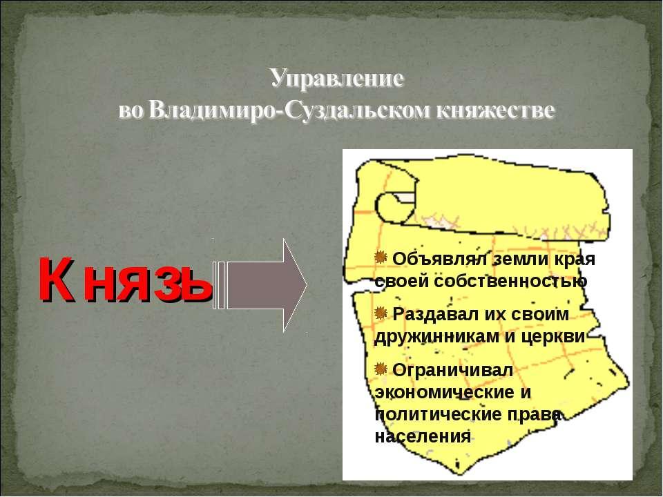 Князь ( сильная власть) Объявлял земли края своей собственностью Раздавал их ...