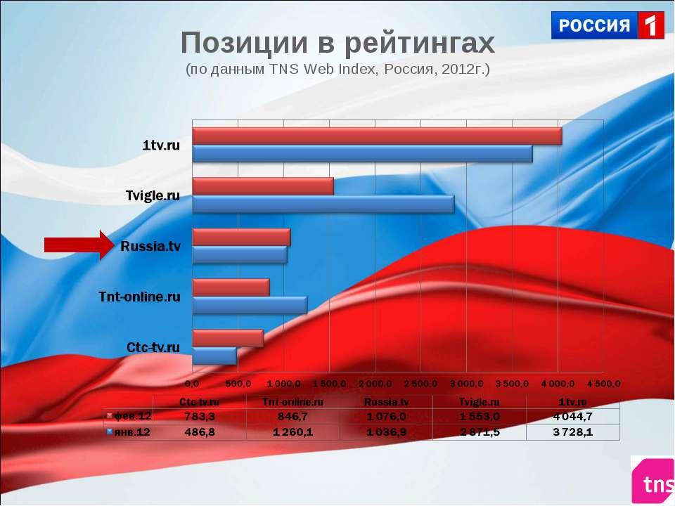 Позиции в рейтингах (по данным TNS Web Index, Россия, 2012г.)