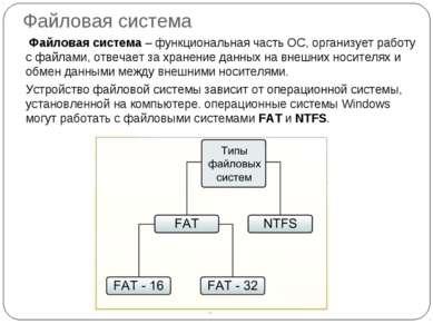 Файловая система Файловая система – функциональная часть ОС, организует работ...