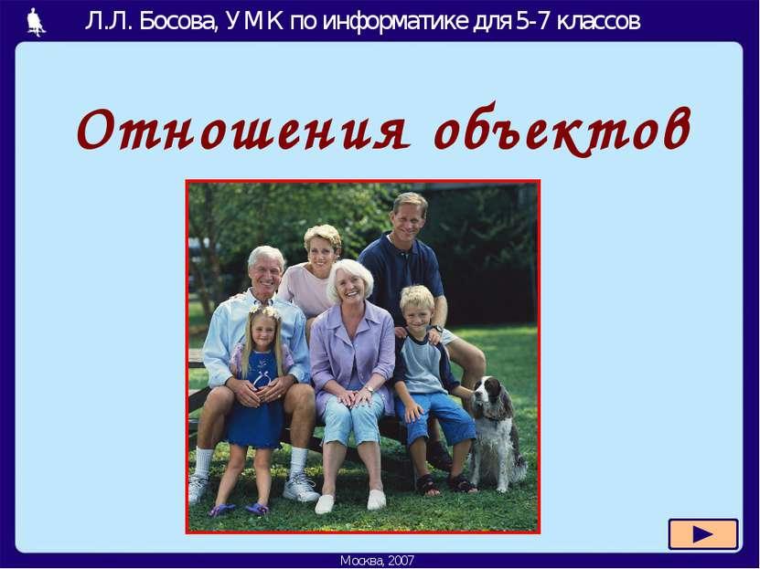 Отношения объектов Москва, 2007 Л.Л. Босова, УМК по информатике для 5-7 классов