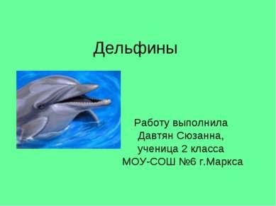 Дельфины Работу выполнила Давтян Сюзанна, ученица 2 класса МОУ-СОШ №6 г.Маркса