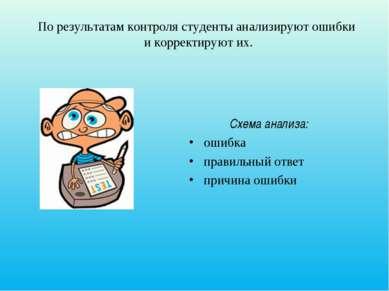 По результатам контроля студенты анализируют ошибки и корректируют их. Схема ...