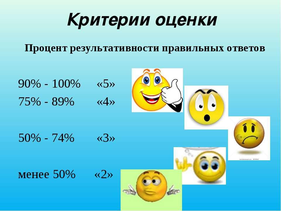 Критерии оценки Процент результативности правильных ответов 90% - 100% «5» 75...