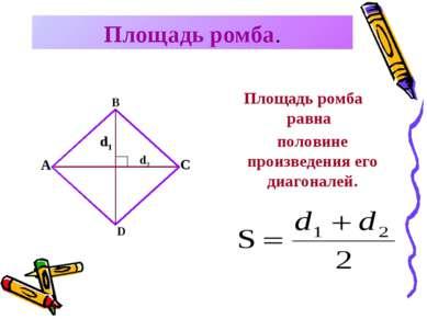Площадь ромба. Площадь ромба равна A B C D d1 d2 половине произведения его ди...