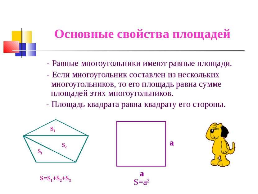 Основные свойства площадей - Равные многоугольники имеют равные площади. - Ес...