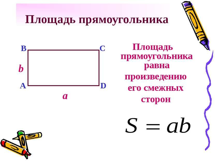 Площадь прямоугольника Площадь прямоугольника равна a b A B C D произведению ...