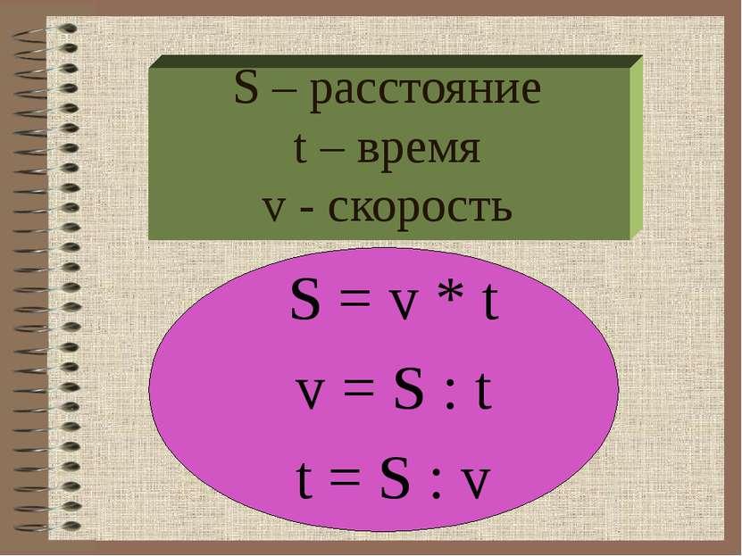 S – расстояние t – время v - скорость S = v * t v = S : t t = S : v
