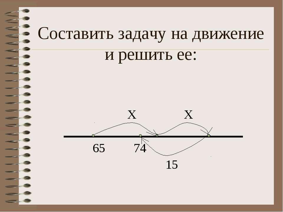 Составить задачу на движение и решить ее: Х Х 65 74 15