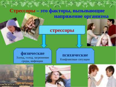 Стрессоры – это факторы, вызывающие напряжение организма стрессоры психически...